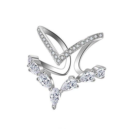 Summens Damen Ringe Partnerringe 925 Sterling Silber Verstellbar Personalisierte Modische Unregelmäßige Doppeldiamantring Eröffnungringe (Silber Band Damen Ringe)