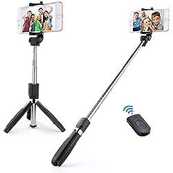 Perche Selfie Bluetooth de Trépied,Bâton Réglable Télescopique pour iPhone X/ 8/7/ 7 Plus/ 6s/ 6, Samsung Galaxy, Android Smartphones