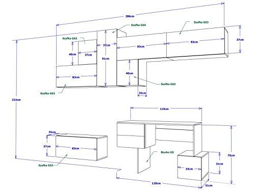 RUBIC 3 Ausführungen, Moderne Wohnwand, Exklusive Mediamöbel, TV-Schrank, Neue Garnitur, Große Farbauswahl (Rubic 1) - 2