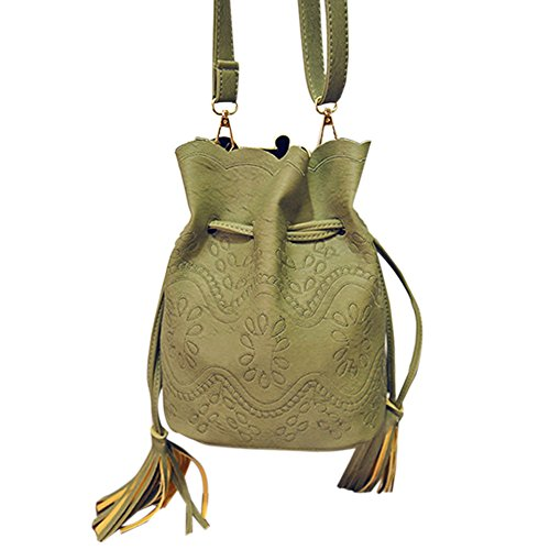 Hrph Weinlese -Troddel-Frauen Handtaschen aus Leder Eimer Taschen Damen Cross Body-Umhängetasche Green