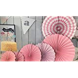Infinxt Party Decoration Paper Fan Set of 6 (Light Pink)