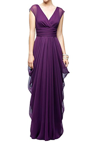 Milano Bride Damen Festlich V-Ausschnitt Lang Chiffon Abendkleider Festkleider Brautjungferinkleider Faltenwurf Flieder