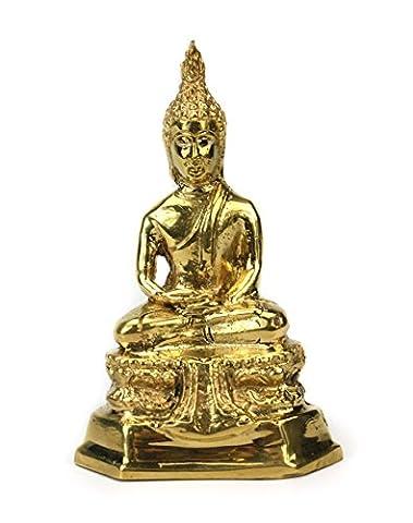 Thailändische Sitzender Buddha Statue Metall, Gold Finish, ca. 11cm hoch, cm6074