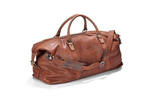 Packenger Leder Weekender - Floki -  Cognac, 45 Liter, Reise-Sport Umhängetasche, 64 cm, Vollrindsleder Sporttasche Reisetasche