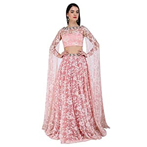 Pernia Qureshi Rose Pink Floor Length Sleeves Embroidered Lehenga Set