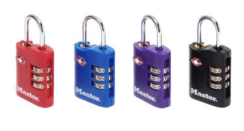 Master Lock 4686EURT 2 lucchetti TSA 30mm Zinco Combinazione programmabile a 3 cifre, Viola, Blu, Rosso, Nero