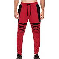 Hombre Casual Baggy Jogging Chándal Bottoms Training Running Pantalón De Costura Pantalones De Moda Slim Fit con Cordón S-3XL