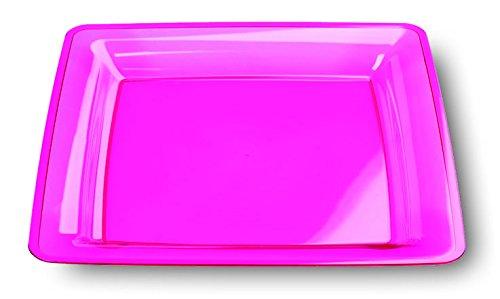 Framboise MOZAIK Lot de 6 Assiettes Plastique Carré 23 cm