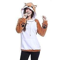 Yeleo Trosetry Women's Cute Cartoon Shiba Inu Dog Fleece Hoodie Lovely Cosplay Costume Pullover Sweatshirt With Tail