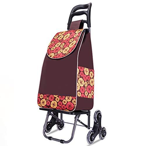 Acyon Einkaufstrolley mit Abnehmbare & Regenfeste Tasche - Großer Trolley klappbar mit großen Rädern bis 50kg Belastbar,Braun