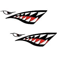 Gazechimp 2 Piezas de Pegatinas Artificial con Patrón Diseño de Boca Diente Tiburón para Barco Kayak Deportes Canoa Pesca Bote Compatibilidad Universal Duradero