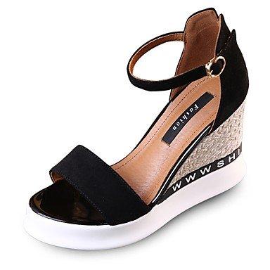 zhENfu Donna Sandali Summer Club di calzature in pelle scamosciata Abito casual Tacco a cuneo Giallo Nero Black