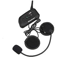 Excelvan V6 - Auriculares Intercomunicador Bluetooth para casco de motocicleta Moto Intercom Headset 1200M, (Intercomunicacion entre 6 motociclistas, Enchufe de EU BT)