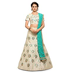 WomenS Off White Color Embroidered Lehenga ASMHR787CHIKU
