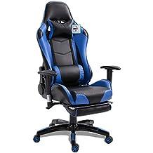 Gaming Chair Racing, Silla de Oficina giratoria, Piel sintética, Silla de Oficina ergonómica