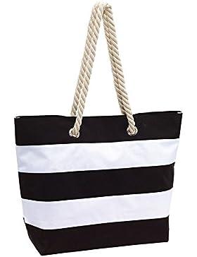 Strandtasche Damentasche schwarz 2 Kordel Henkel aus Baumwolle mit Metallösen