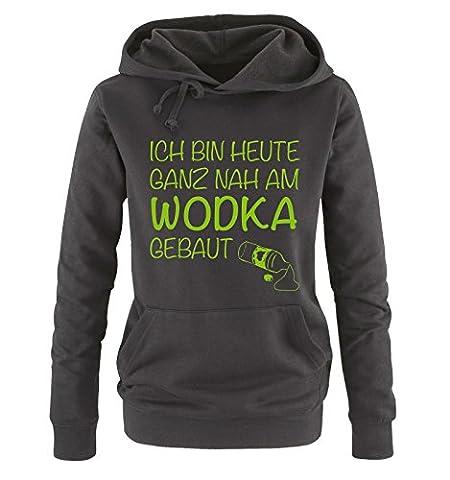 Ich bin heute ganz nah am WODKA gebaut. - Damen Hoodie - Schwarz / Grün Gr. M (Grün Wodka)