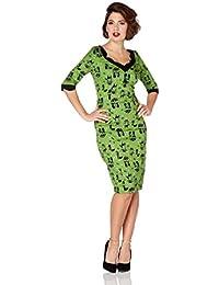 Vestido con Volantes con Estampado de Gato al estilo Rockabilly de los 50's de Voodoo Vixen Jade Kat