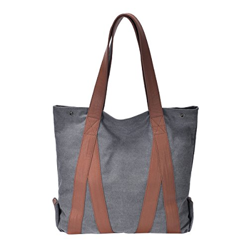 Leinwand Damen Große Kapazität Einfache Literatur Wearable Atmungsaktiv All-Spiel Handtasche Grey