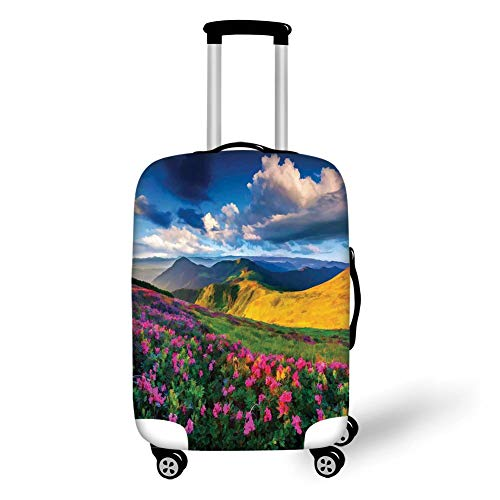 Travel Luggage Cover Suitcase Protector,Floral,Watercolor Style Pink Rhododendron Flowers and Mountain in Summer,Earth Yellow Pink and Blue,for TravelL 25.9x37.8Inch -