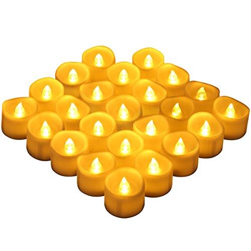 ORIA LED Kerzen, Flammenlose Kerzen, LED Teelichter mit 24 LED Tealight Candles und Batterie, Elektrische Teelichtern für Wohnaccessoires, Bars, Hotels, Partys, Urlaub & Hochzeit, usw