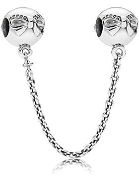 Pandora Damen-Charm Sicherheitskette Schleifchen 925 Silber Zirkonia transparent Brillantschliff - 791780CZ-04
