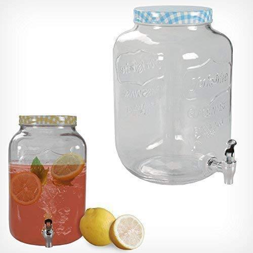 Getränkespender mit Hahn 3L 7L Glas Landhaus Dispenser Getränke Spender Saft (7,5 Liter, Blau) -