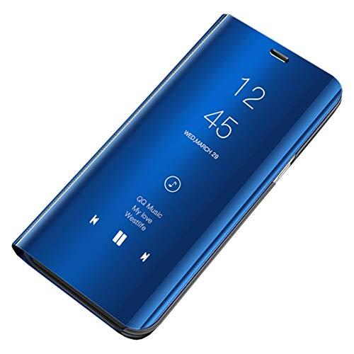 Hishiny Samsung Galaxy S10 Custodia Clear View Specchio Standing Cover S10 Plus Caso Flip Case Custodia Bookstyle Smart Flip Protecter Shell Case per Galaxy S10/S10 Lite/S10 Plus (S10, Blu)