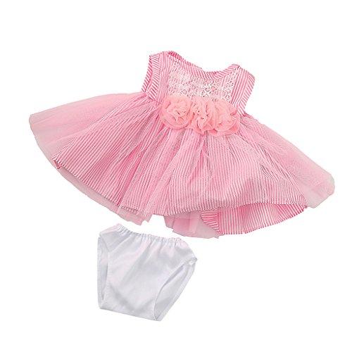 MagiDeal Vestido Falda de Encaje Flores Rayas con Ropa Interior para American Girl Doll 18 Pulgadas Pink