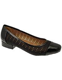 Brevet Travail De Bureau Léger Glissement Saphir Magasin Femme À Talons Bas En Cuir Imitation Cuir Chaussure Plate - Noir, 7 Au Royaume-uni