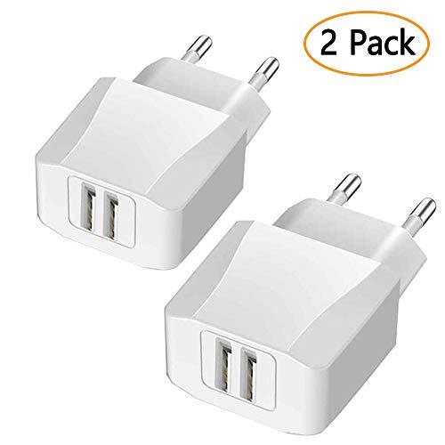 Luvfun USB Ladegerät, 2-Port (5V/2.1A) Desktop Ladestation Dockingstation Ladegerät Charge Reiseadapter mit iSmart Technologie Weiß [2-Pack]