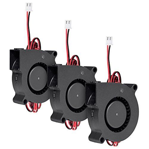 Ventola radiatore del ventilatore a turbina (3 pezzi), diealles 12v 5015 50 x 50 x 15 mm 5015 ventola di raffreddamento per stampante 3d, accessori per stampanti 3d,nero