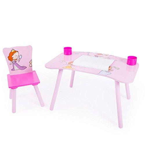 Homestyle4u Kinder Studie Hausaufgaben Schreibtisch mit Prinzessin Motiv, Holz, mehrfarbig, 30x 30x 30cm