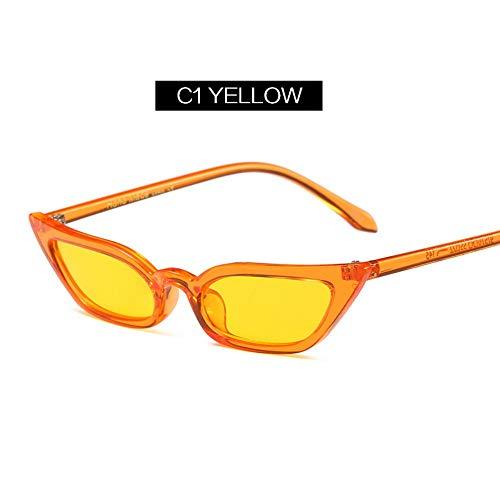 MOJINGYAN Sonnenbrillen,Frauen Retro Cat Eye Sonnenbrille Gelb Lila Kontaktlinsen Sonnenbrille Designer Brille Für Weibliche Uv400 Gelb (Kontaktlinsen Designer,)
