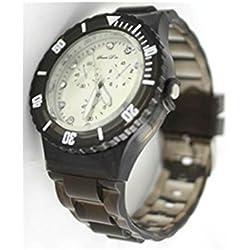 Souris D Or F - Montre pour Femme Bracelet Silicone Noir Transparent S. D OR 245