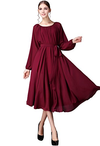 Buenos Ninos Women Chiffon Elegant Vintage Long Maxi Dress with Belt Casual Long Sleeve Prom Ball Gown Wedding Party Dresses