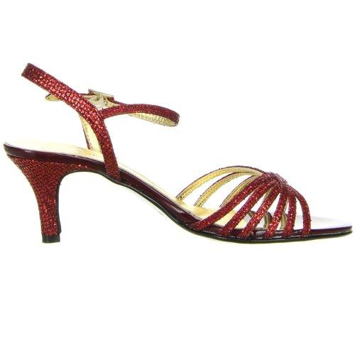 Vista Damen Sandaletten Glitzeroptik rot Rot