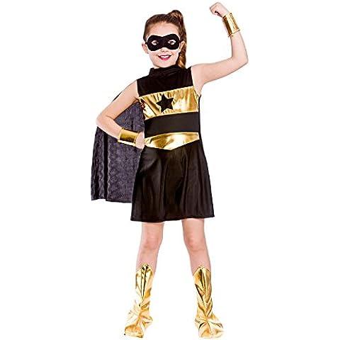 Disfraz de superheroína para niña, color negro. Talla pequeña: 3-4 años (110-122cm)