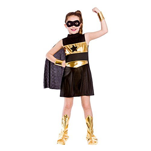 Mädchen Nette Kostüm Superhelden - Girls Black Super Hero Fancy Dress Party Costume Halloween Child