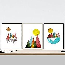 Láminas para enmarcar Montañas Geométricas, tamaño 30x40 cm. Papel 250 gramos alta calidad