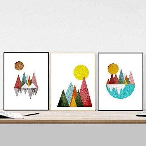 Nacnic Set 3 láminas enmarcar Montañas Geométricas