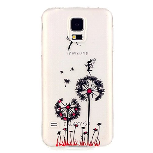 Samsung Galaxy S5 Mini Custodia,KSHOP TPU Custodia conchiglia Caso Case Cover in silicone morbido Flessibile TPU modelli colorati - Dente di leone con Angeli