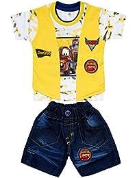 Little Hub Clothing Sets Short Sleeve Round Neck T-Shirt + Denim Shorts
