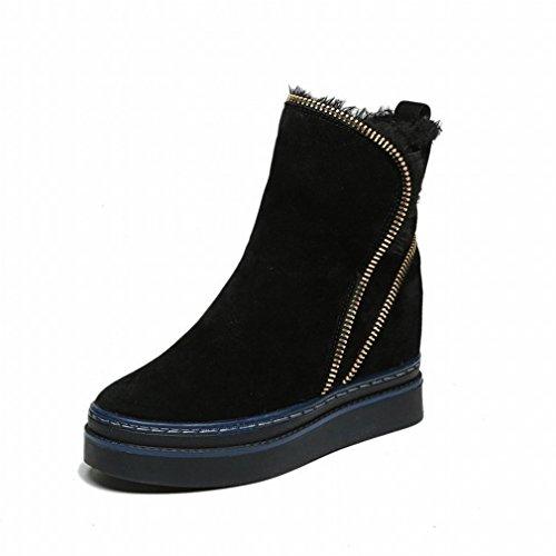 ajouter la laine épaisses bottes femmes tête ronde plat chaud coton chaussures dHlbx1hW