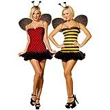 Cesar - Pack de 2 disfraces de abeja y mariquita sexys para mujer (adulto), talla M