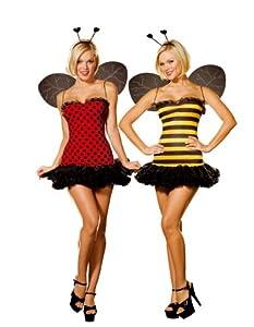 Cesar - Pack de 2 disfraces de abeja y mariquita sexys para mujer (adulto), talla L