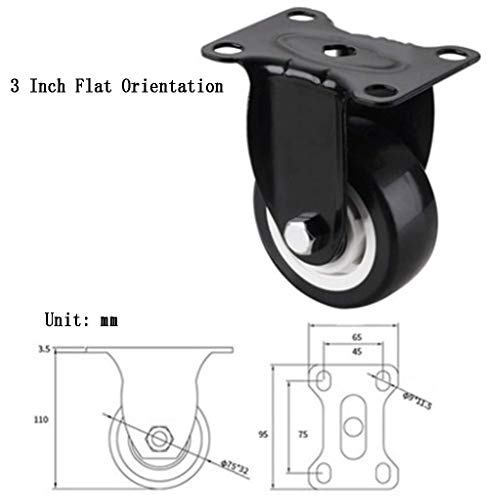 KISlink Ruota di Ricambio per mobili con rotelle 2 Pezzi, Ruota Universale in Poliuretano con Freno, Rotazione di 360 Gradi, per armadietto Scrivania Baby Culla Orientamento Nero
