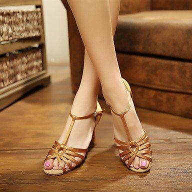 Vermelho Preto Senhoras Latino Xiamuo Ao Personalizáveis Vermelho Livre Marrom Calcanhar sapatos Ar De Combinado cetim Dança 7AqPdFqwB