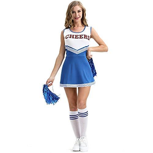 Junenoma Frauen Sexy Nette Schulmädchen Musical Party Halloween Cheerleader Kostüm Kostüm Uniform Outfit,Blau,XXL