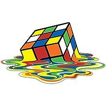 Pegatina adhesiva, diseño de cubo de Rubik derritiéndose, PVC